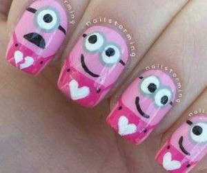 nails, uñas, and pink image
