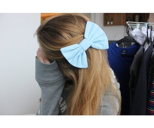 blue, bow, and girl image