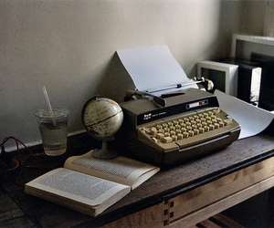 book, photography, and typewriter image