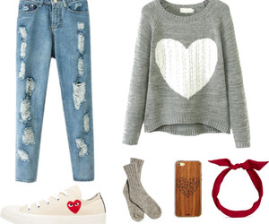 gray, jeans, and outfit image