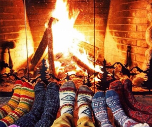 fire, winter, and christmas image