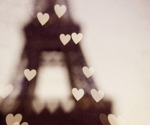 paris, eiffel tower, and hearts image