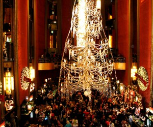 chandelier, radio city, and christmas image