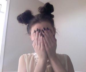 black nail polish, grunge, and cute image