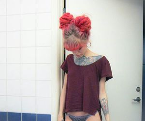 dyed hair, grunge, and pink hair image