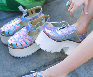 shoes, holographic, and style image