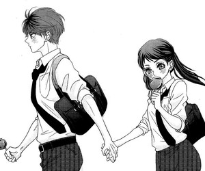 cute, black and white, and couple image