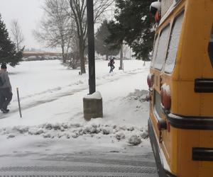 bus, school bus, and snow image