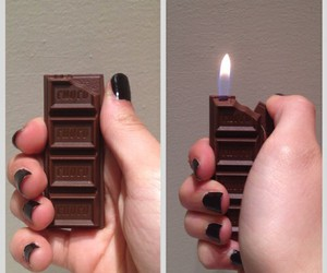 black nails, chocolate, and fire image