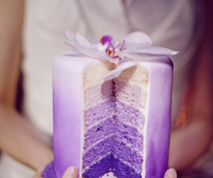 cake, purple, and wedding image