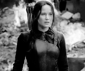 black and white, katniss, and hunger games image