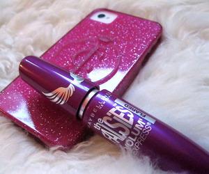 girl, iphone, and mascara image