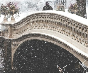 snow, winter, and bridge image