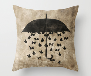 umbrella, black, and butterfly image