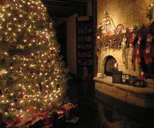 christmas, light, and fireplace image