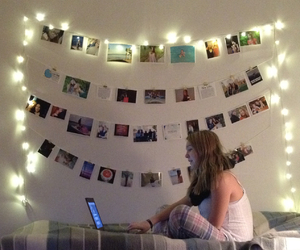 girl, laptop, and lights image