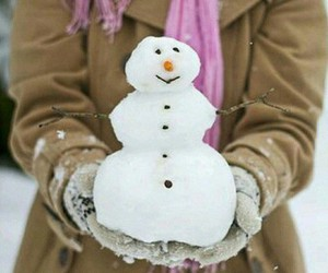 girl, scarf, and snowmen image