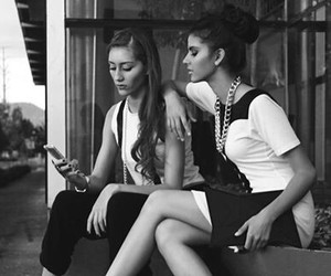 black and white, models, and girls image
