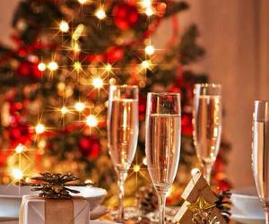champagne, christmas decor, and christmas image