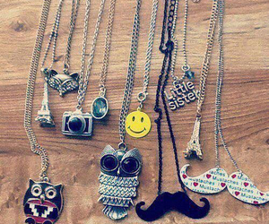 necklace, owl, and mustache image