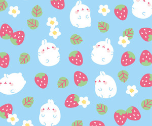 wallpaper, cute, and strawberry image