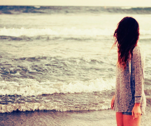 beach, girl, and alone image