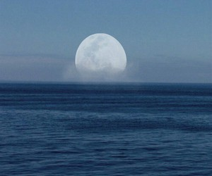 moon, ocean, and blue image