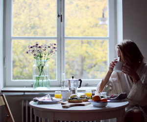 breakfast, coffee, and girl image