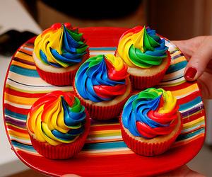 arco iris, cupcake, and ice cream image