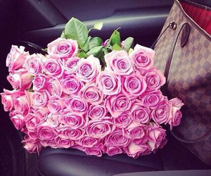 bag, roses, and flowers image