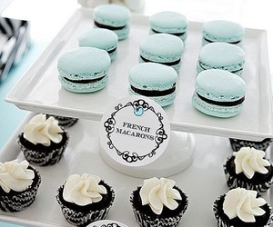 macarons, sweet, and cupcake image