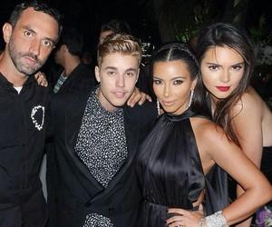 justin bieber, kendall jenner, and kim kardashian image