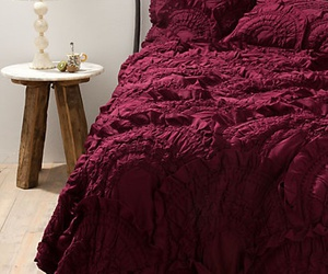 burgundy and bed image