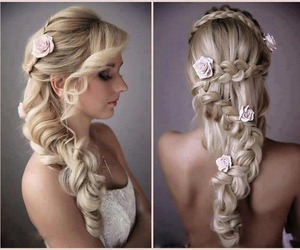 blonde, curl, and hairstyle image