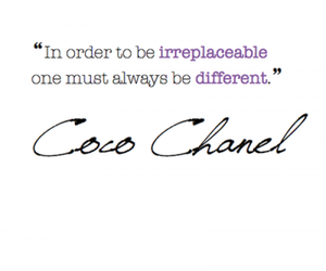 coco chanel, different, and text image