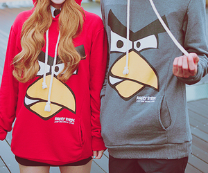 angry birds, couple, and boy image