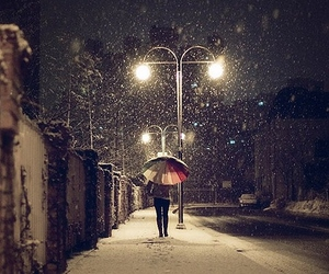 snow, umbrella, and winter image