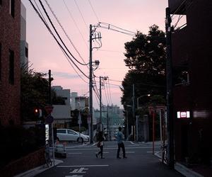 city, street, and sky image