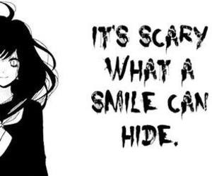 girl, hide, and scary image