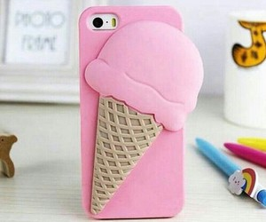 pink, ice cream, and iphone image