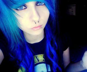 blue hair, girl, and scene image