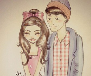 couple, drawing, and ariana grande image
