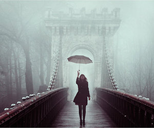 girl, bridge, and umbrella image