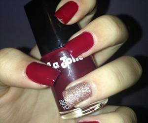 christmas, nail, and red image