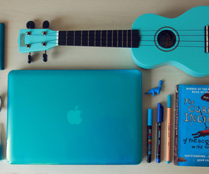 blue, guitar, and book image