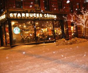 starbucks, winter, and snow image