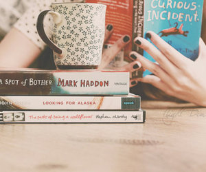 books, cup, and nails image