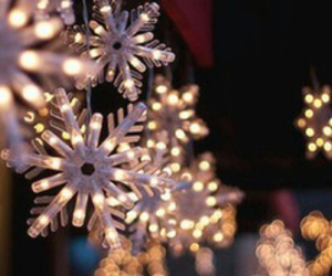beautiful, light, and snowflakes image
