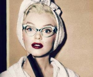 Marilyn Monroe, glasses, and vintage image