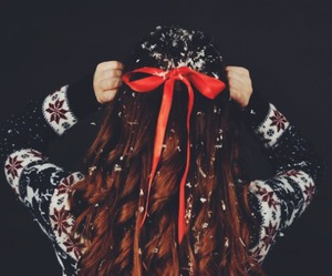 hair, snow, and christmas image
